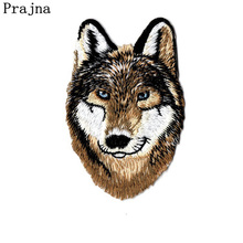 Prajna Biker Patches Rock Wolf Iron On Patches Tiger Lion Embroidery Clothing DIY Stickers Punk Badges For Motorcycle Clothes