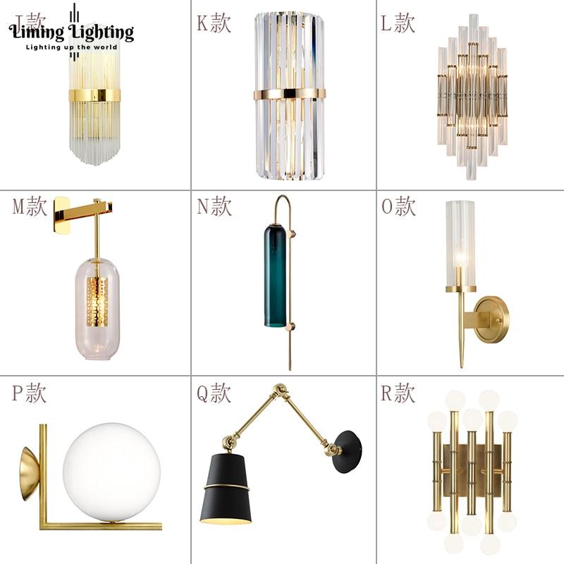 Настенный светильник в итальянском стиле, черный/золотой прикроватный светильник для спальни, зеркало, украшение для дома, настенные свети