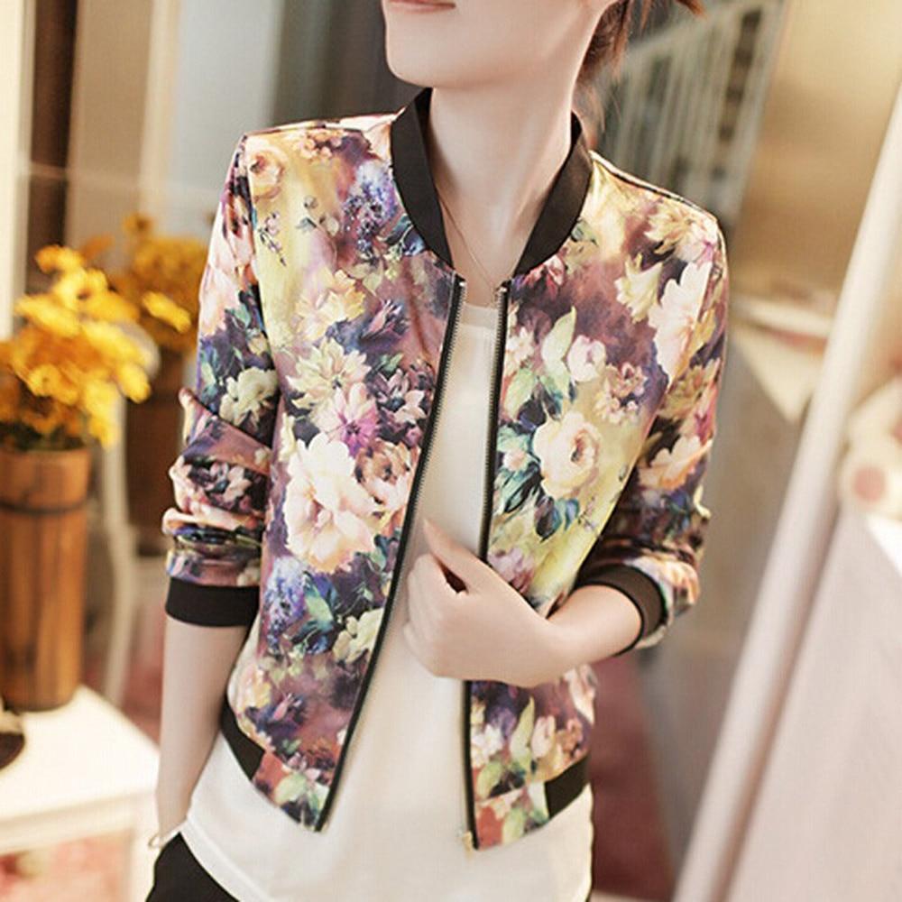 Spring Flower   Basic     Jacket   Cardigan Casual Outwear 1PC Fashion Autumn Women Floral Print Bomber   Jacket   Long Sleeve Zip Coat Top