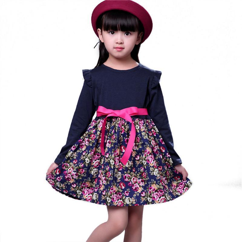 dress for girl Children Long Sleeve Floral Princess Dress Autumn winter Dress Baby Girls Clothes roupas infantis menina flutter sleeve tie waist floral dress