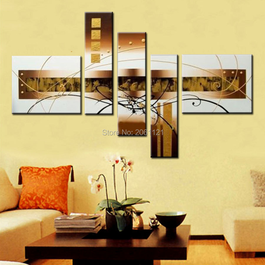 handpainted wall art abstract white yellow home decorations canvas ...