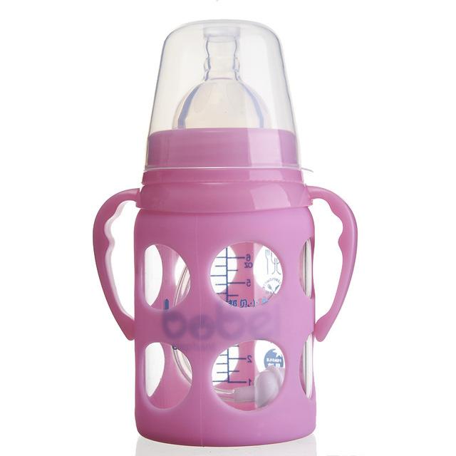 Manejar de Boca Ancha de 180 ml Mamadeira Copo Infantil Recta Libre de BPA Bebé Botella De Vidrio de Alta Calidad Funda de Silicona Copo Com Canudo