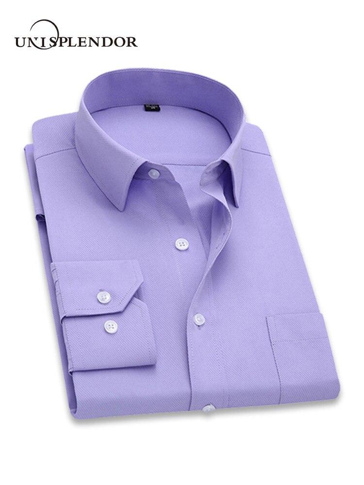 2018 männer Kleid Langarm-shirt Slim Marke Mann Shirts Designer Hohe Qualität Feste Männliche Kleidung Fit Business Shirts 4XL YN045