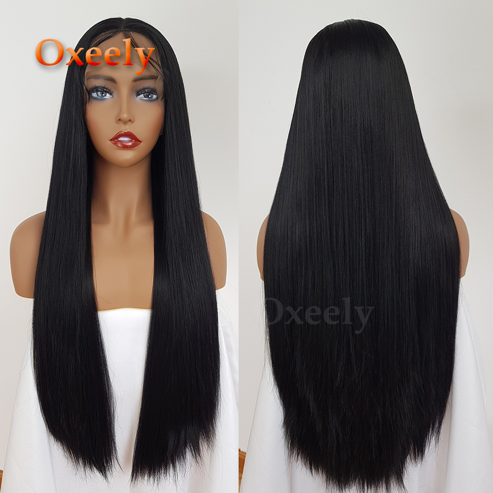 Oxeely Yaki Straight Lace Front Wig 24 inch Long Women's Lace Frontal Wig Natural Black Color Synthetic Lace Fully Hair
