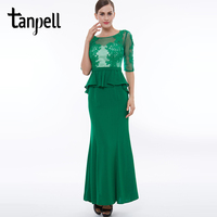 Tanpell sexy mermaid evening dress green scoop half sleeves appliques a line ankle length gown lady long formal evening dresses