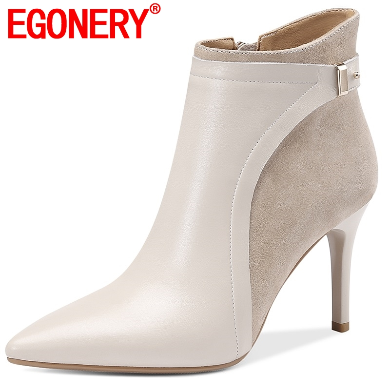 EGONERY Cow Leather Booties 2019 fashion party sexy Flock ankle boots black beige Metal Decoration winter