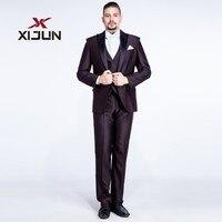 Xijun 3 Piece Wedding Suits for Men 2018 Slim Fit Regular Chocolate Groomsmen Suits (Jacket+Pants+Vest) Tuxedo Costume Homme