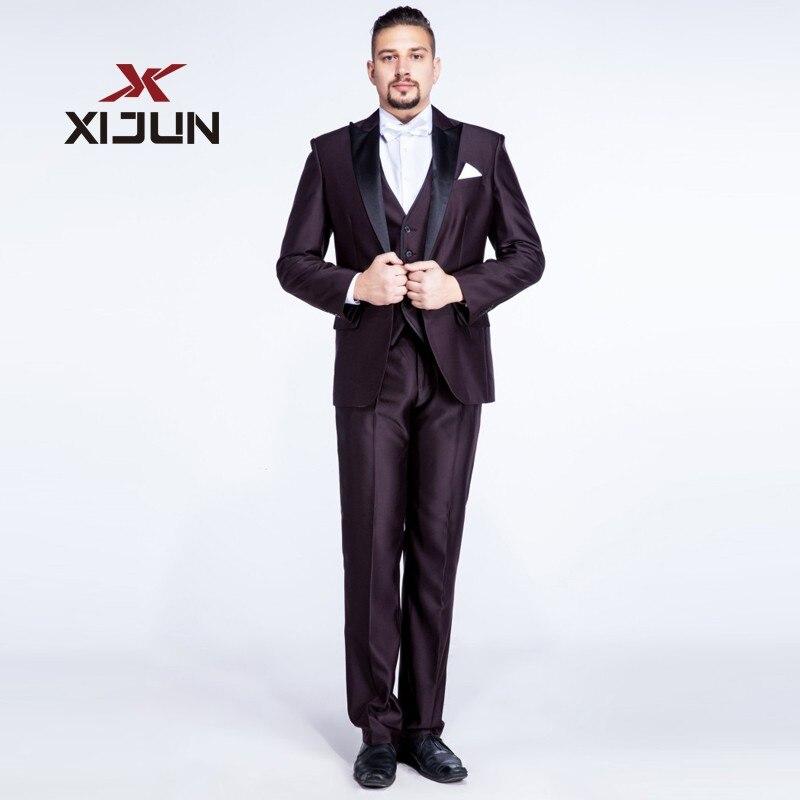 Xijun 3 Piece Wedding Suits for Men 2018 Slim Fit Regular Chocolate Groomsmen Suits (Jacket+Pants+Vest) Tuxedo Costume Homme ...