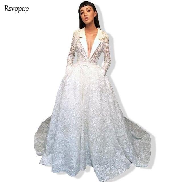 4d05e38d60ca Vestidos de Noche largos 2019 precioso encaje manga larga con cuello en V  blanco hasta el suelo Formal señoras vestidos noche