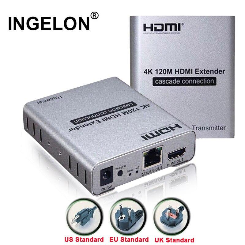 Ingelon 4 K 120 m HDMI Extender Point à Point Multi récepteur Cascade sur simple CAT5e/CAT6/7 câble télécommande IR connecteur de contrôle