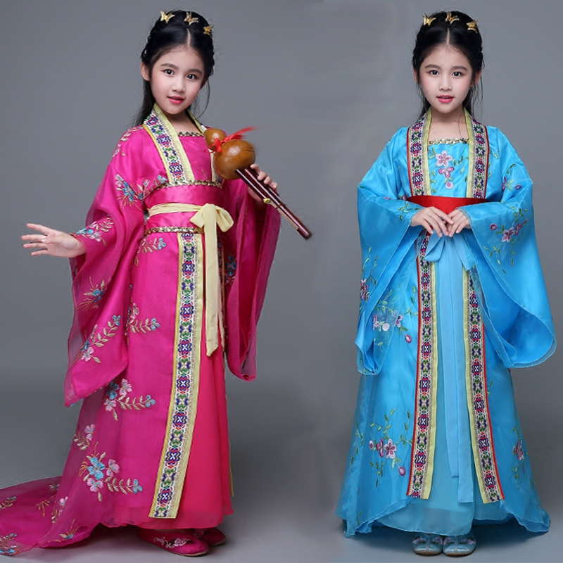 Girls Tail Royal Tang Costume Chinese Princesses Clothing Chinese Ancient Fairy Dance Costume Kids Hanfu Traditional Costume 2017 autumn kids costume girls hanfu stage clothing photography costume song of the goose