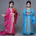 Princesas meninas Cauda Real Tang Traje Chinês Roupas traje Chinês Antigo Hanfu Fadas Traje De Dança Crianças Traje Tradicional