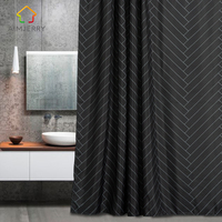 Aimjerry Waterproof Polyester Fabric Bathroom Black Shower Curtain Eco Friendly London Curtains 71 71 Inch 12
