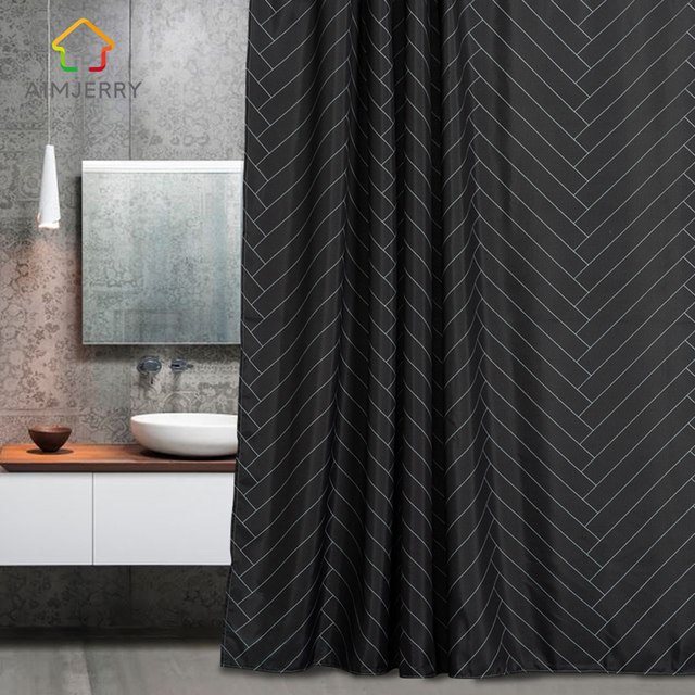 Aimjerry Waterproof Polyester Fabric Bathroom Black Shower Curtain ...