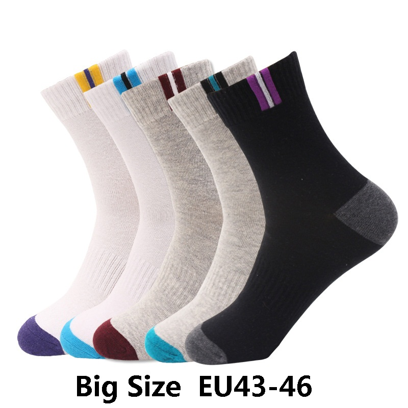 5 pairs mens cotton dress   socks   plus large big size EU 43, 44, 45, 46 US10-13 business dress   socks   calcetines male man men's sox