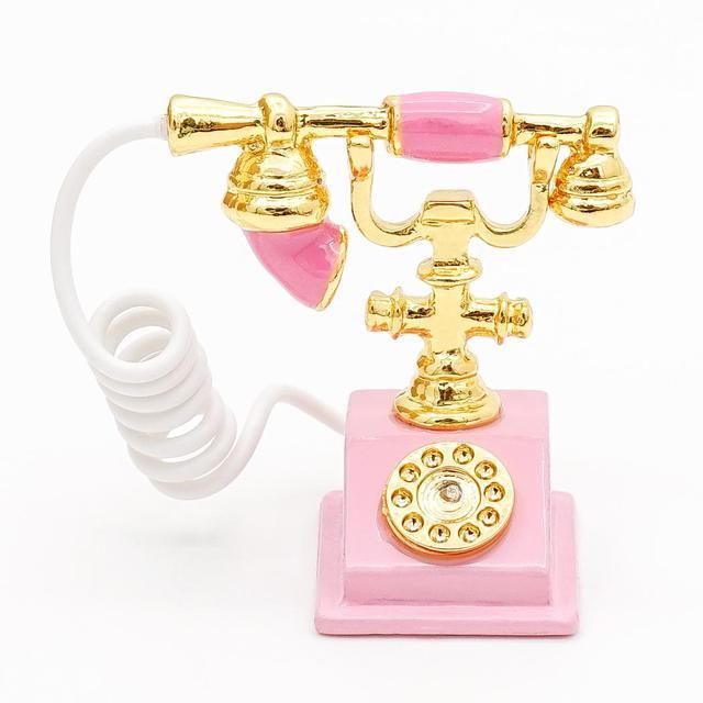 Odoria 112 Dollhouse Miniature Pink Rotary Phone Old Fashioned