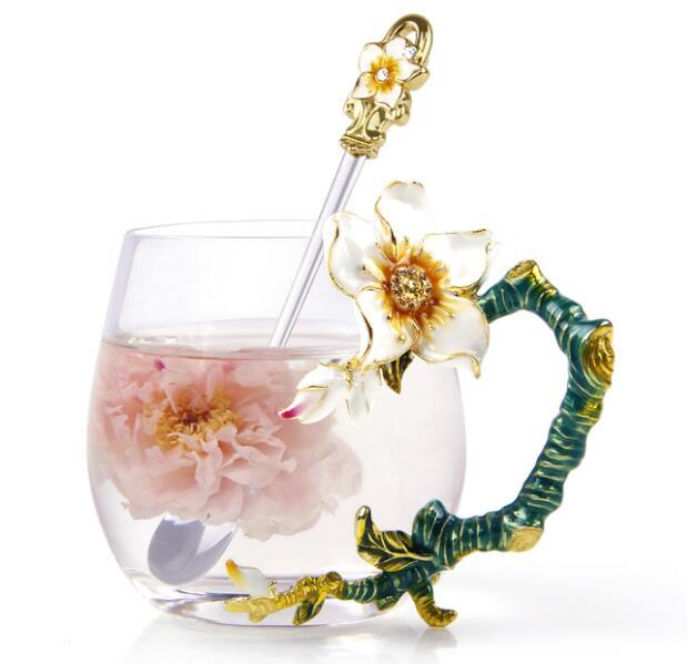 Colored Enamel Porcelain Coffee Cup Set Tea Mlik Cup Creative Drinkware Gift
