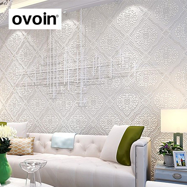 Gold Weiß Strukturierte 3D Geprägte Tapete Metallic Classic Luxus Damast  Wandpapierrolle Für Schlafzimmer
