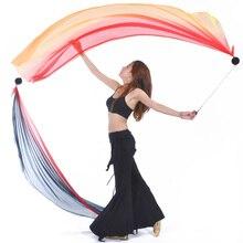 2018 Hot selling Women Sexy Belly Dance Costume Gradient Silk Veil Poi 1 Veil + 1 Poi Chain Dance wear
