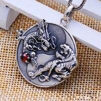 Bạc trang sức bán buôn bạc retro Taiji Bagua rồng white tiger Mặt Dây Chuyền Bạc Huy Chương Mặt Dây Chuyền pendant cho nam giới