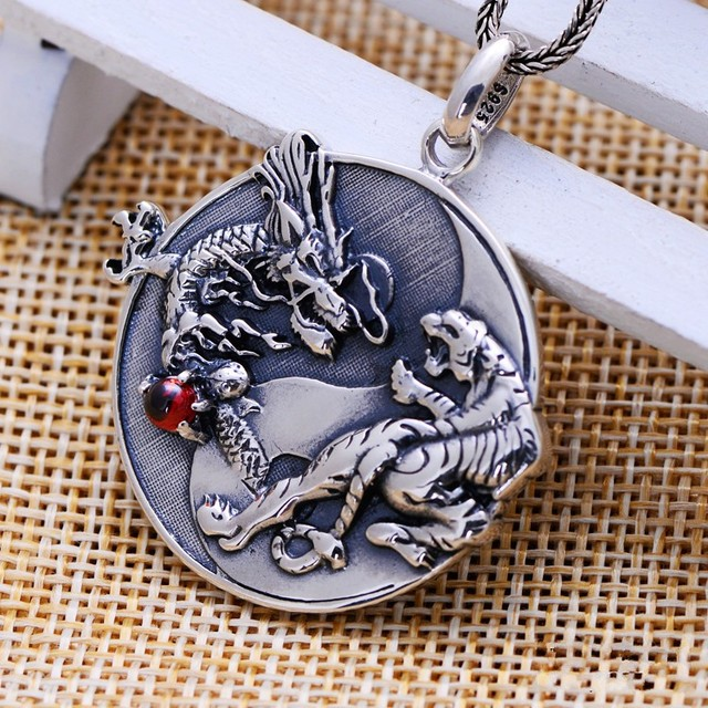 Silver jewelry wholesale silver retro taiji bagua dragon white silver jewelry wholesale silver retro taiji bagua dragon white tiger silver pendant medallion pendant pendant for mozeypictures Choice Image