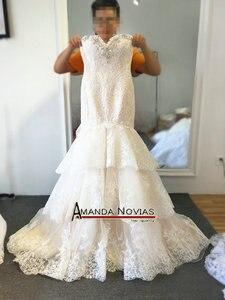 Image 3 - 高品質新しいファッションレースマーメイドシャンパンとアイボリーウェディングドレスオフショルダー花嫁衣装カスタムサイズ