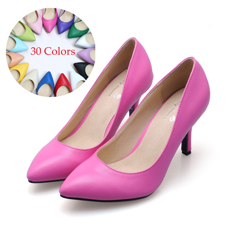 ФОТО 2017 Sheepskin Leather High Heel Shoes Woman Pumps Sexy Wedding Party Thin Heel Pointed Toe Women Shoes Plus size34-41 30Colors