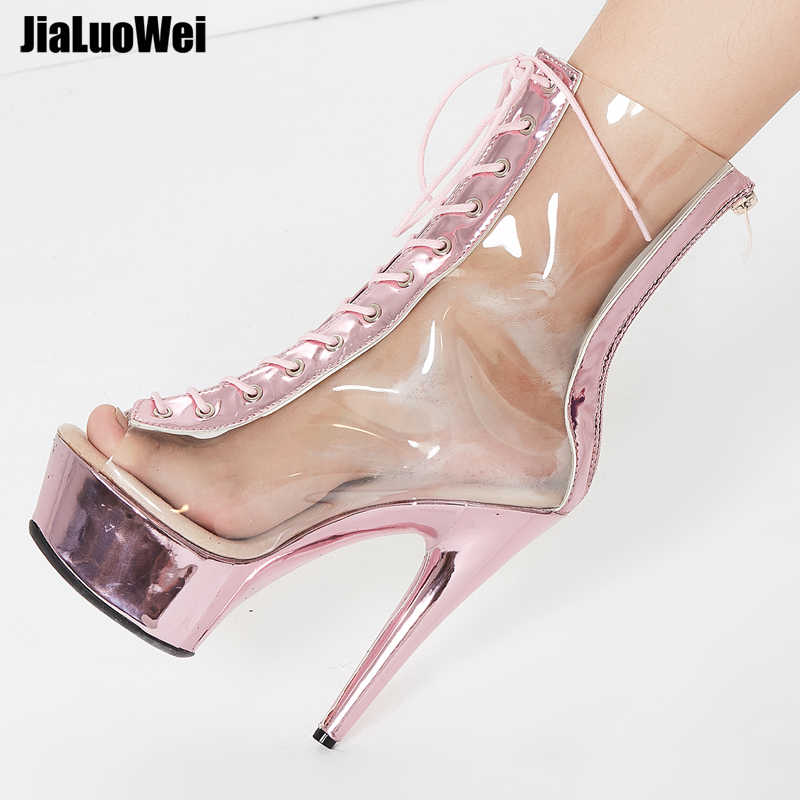 jialuowei New Sexy Boots 15CM Extreme High Heel Clear Transparent Lace up Zip Peep Toe Platform Women Ankle Boots Metallic Pink