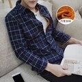 2016 Marca de Ropa de Invierno de Los Hombres Espesar Caliente Camisa A Cuadros de Terciopelo Tops Manga Larga para hombre Delgado Regular De Camisas Para Hombres tamaño Grande 5XL