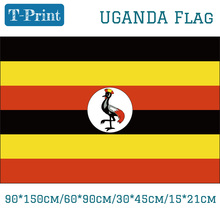 Free shipping 3x5ft Hanging Flag 30*45cm 15*21cm 90*150cm 60*90cm Uganda National