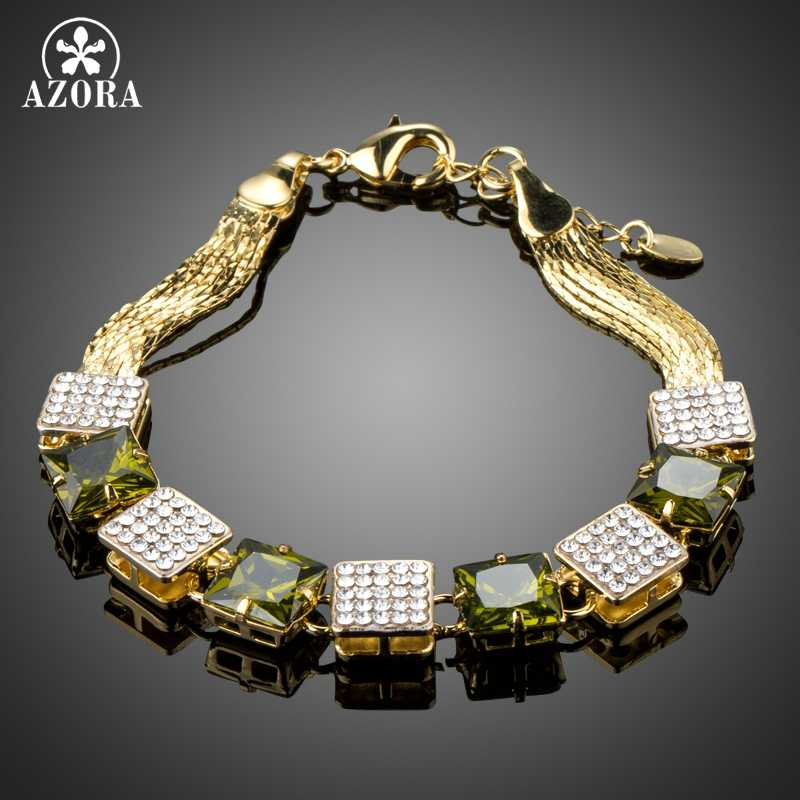 AZORA Lucky Square Shape Chain Bracelet Charm Pave Big Green CZ Trendy Fashion Link Bracelet Femme Jewellery Accessories TS0173