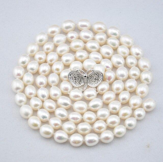 eea693bd02e5 Mujeres palabra Regalo 925 plata Esterlina real Boutique de la cadena  suéter de la perla natural