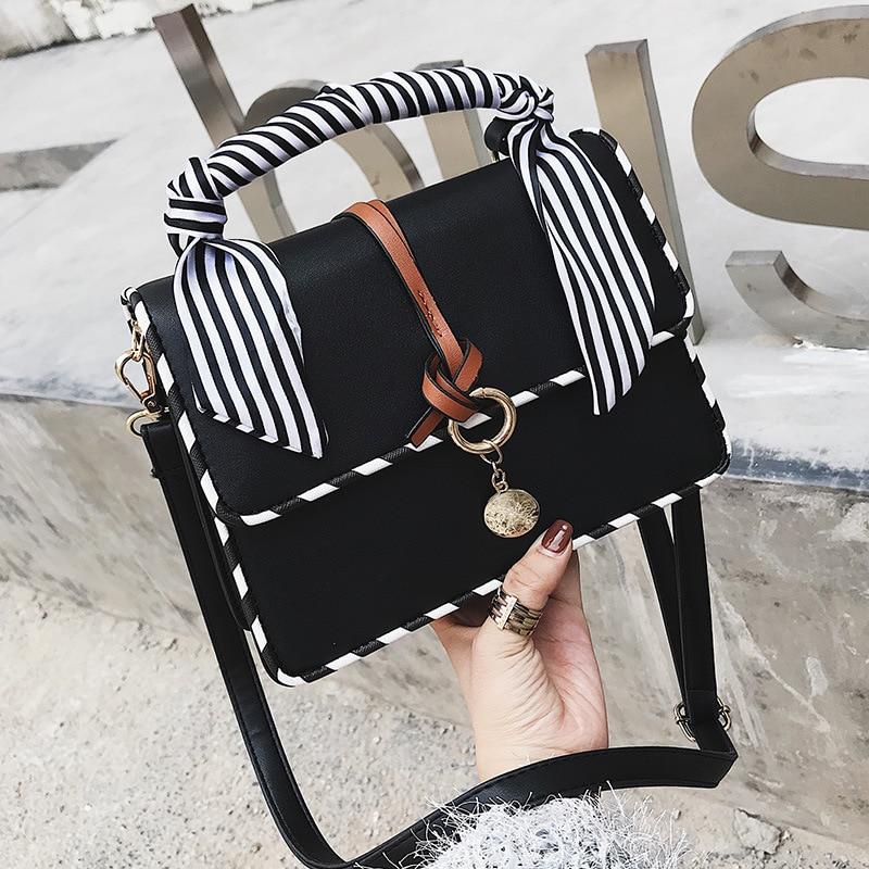 luxury Handbags New Designer Brand Shoulder Bags Ladies Sac A Main Lady Stripe Scarf Women Bags Trend Handbag