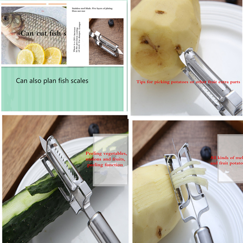 JAMUWY Multi-function three-in-one stainless steel paring knife double-sided vegetable and fruit planing knife. Kitchen helper