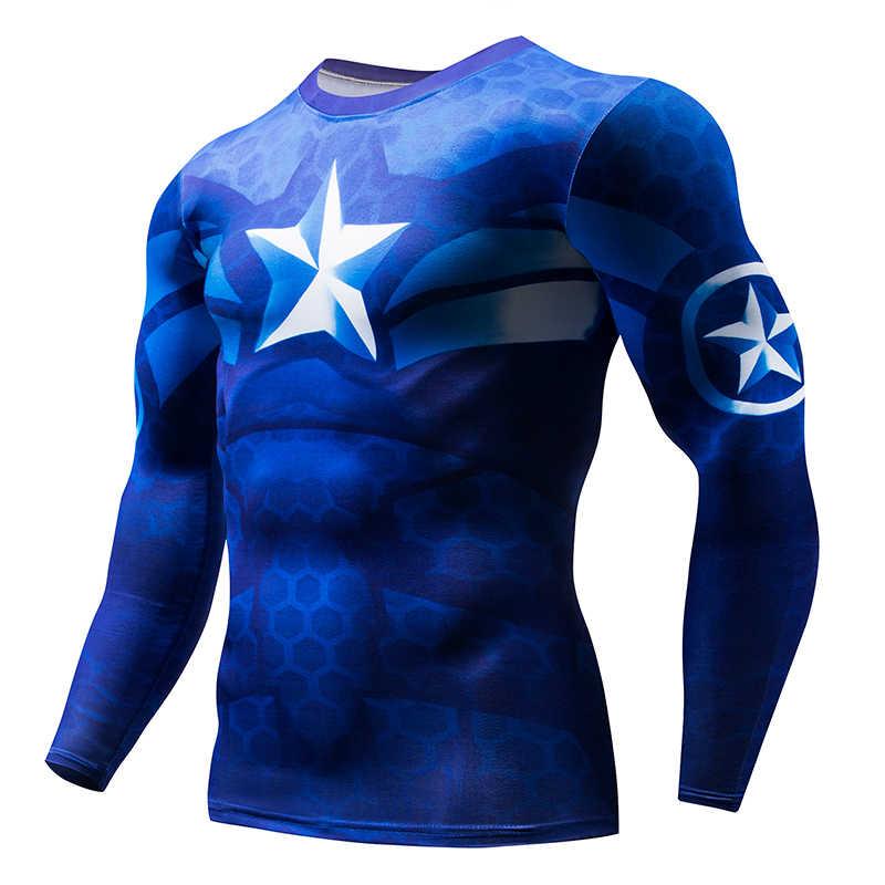 2019Super Hero Kebugaran MMA Kompresi Kemeja Pria Anime Binaraga Lengan Panjang 3D T Shirt Tops Kemeja Pria Cosplay Pakaian