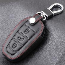 Capa de couro preto para chave do carro, capa para peugeot 308 408 508 2008 3008 4008 5008 3 capa inteligente da chave remota do botão