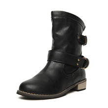 8d8e80721 New Women Boots Shoes Autumn Winter Chelsea Martin boots Med High Heels Round  Toe Ankle Boots