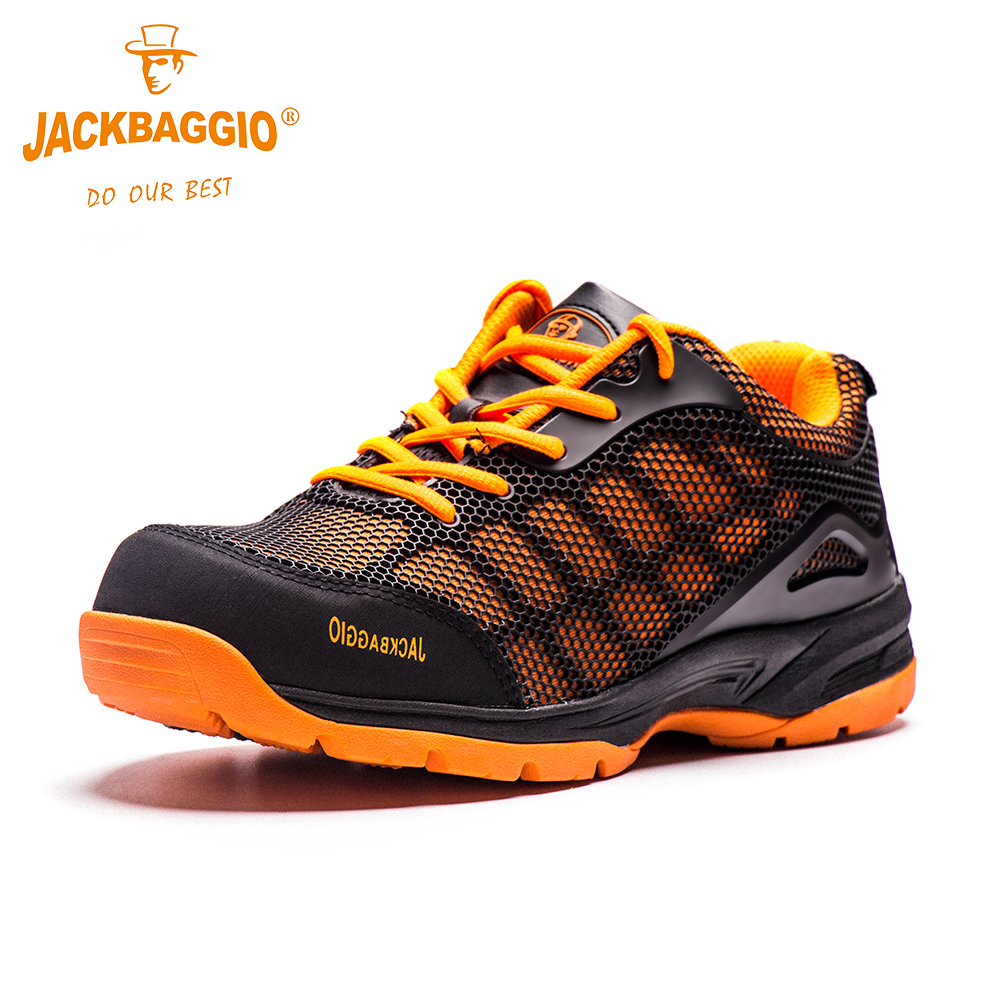 JACKBAGGIOFashion Comfortable Round toe work safety shoes High quality mens shoes Hot Sale Breathable Reflective Casual