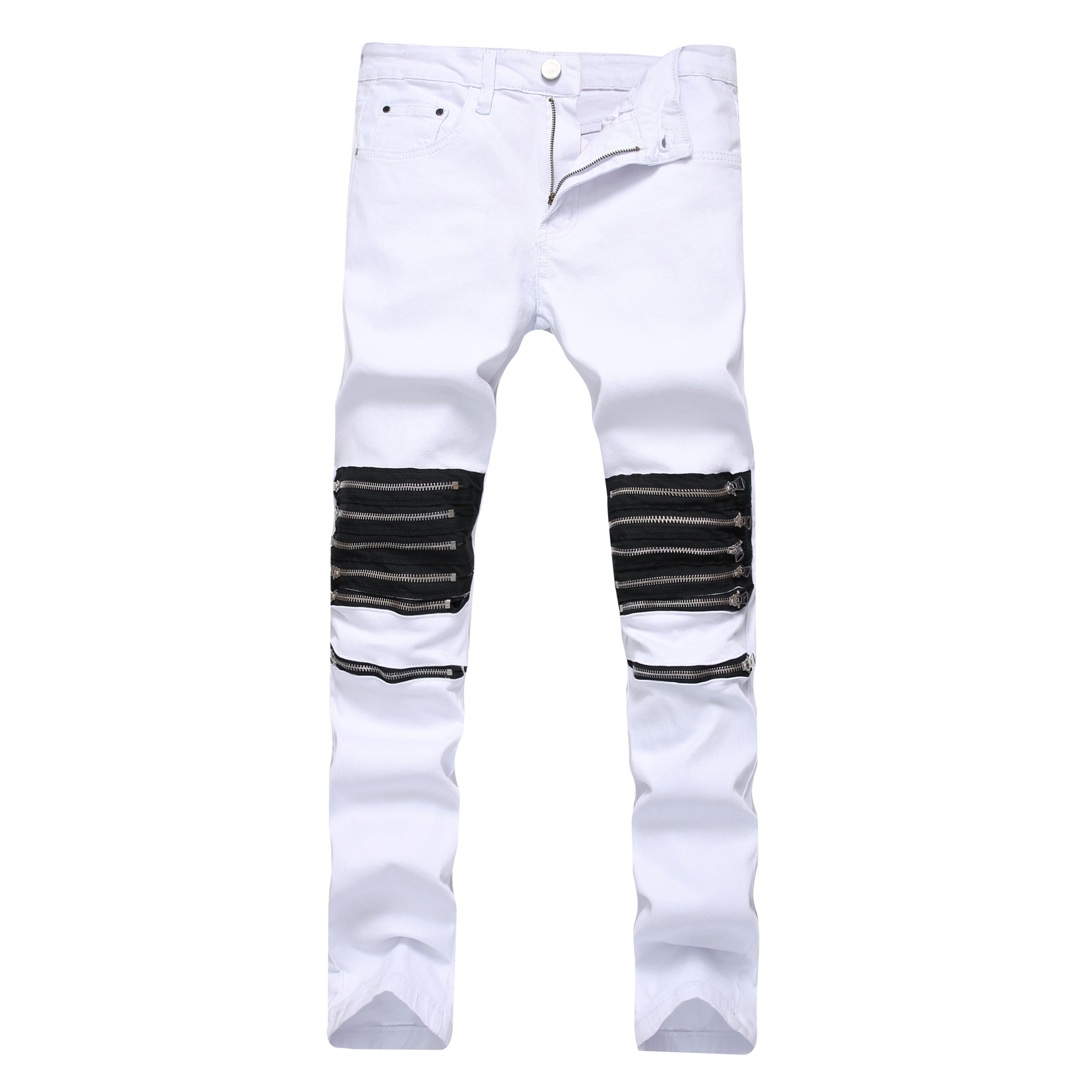 New 2018 Mens broken holes, decorative zippers, casual jeans, white red fashion, North American mens stretch pants.