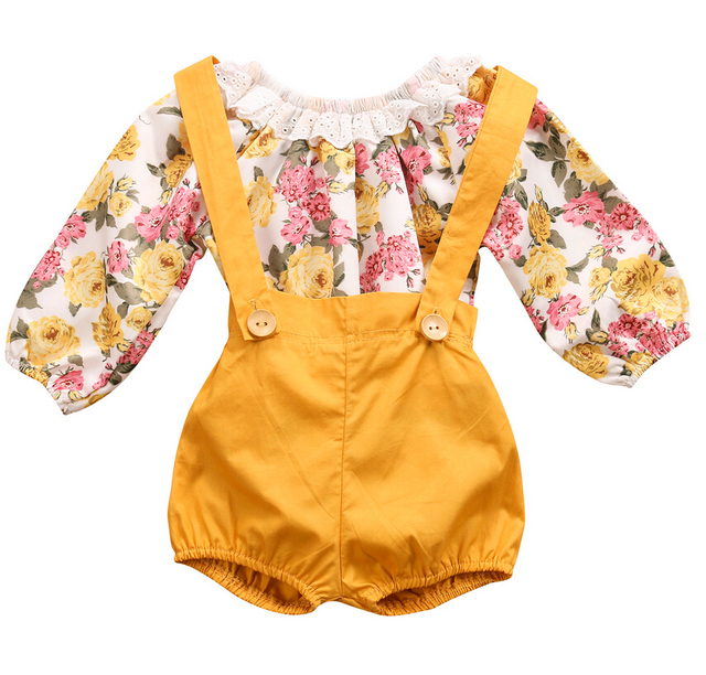 87d9daf6497f4 2 pcs Infantile Bébé Fille Princesse Dentelle Barboteuse + Pantalon Court  Salopette Sunsuit Tenues Vêtements D