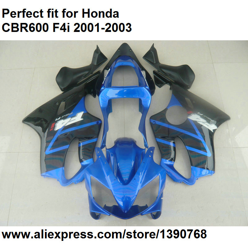 Aftermarket body <font><b>parts</b></font> fairings for <font><b>Honda</b></font> CBR 600 F4i 2001 2002 2003 black blue fairing kit <font><b>CBR600F4i</b></font> 01 02 03 DZ123 image
