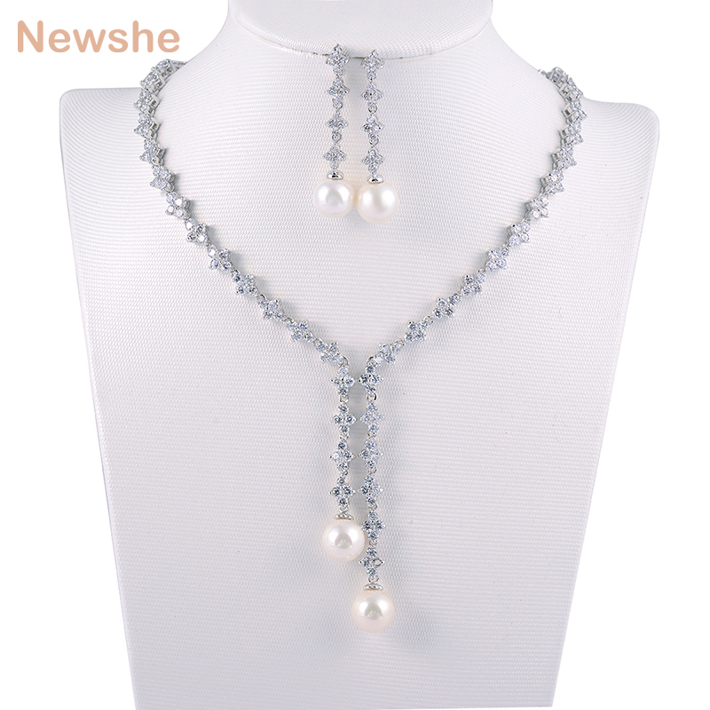 Newshe Lab Created Pearl Pendant Rhodium Plated Necklace Earrings Trend Style Fashion Sets Jewelry Gift For
