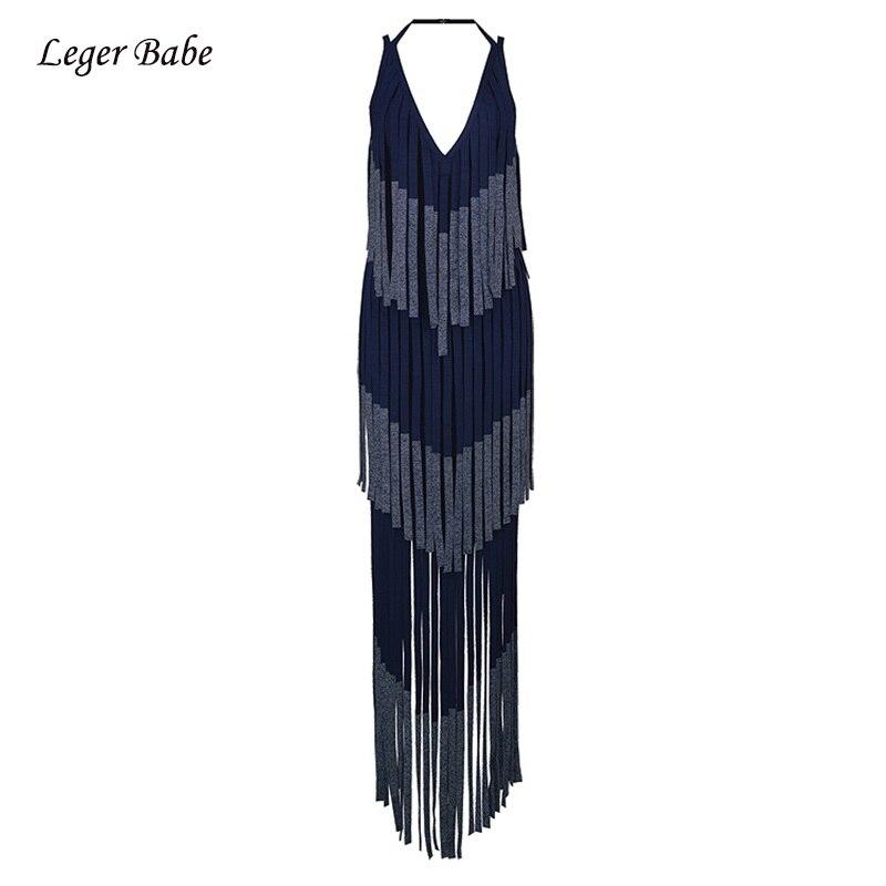 Leger Babe Long Fringe Bandage Dress Sexy Spaghetti Strap Halter V Neck  Sleeveless Tassel Show Runway df519656468c