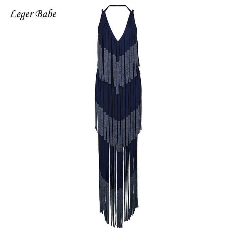 Leger Babe длинное Утягивающее платье с бахромой сексуальное платье на бретельках с v-образным вырезом без рукавов с кисточками модные наряды Лето Горячая Распродажа