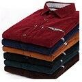 100% Cotton High Quality Luxury Brand Retro Corduroy Shirts Men Long Sleeve Vintage Dress Shirts For Men Khaki,Black,Red,Navy