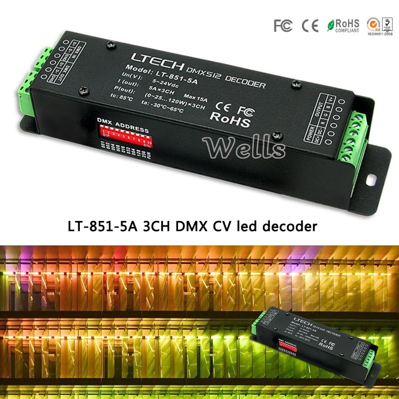 led controller DC5-24V input;5A*3CH output;LT-851-5A 3CH DMX-PWM CV decoder;for led light module strip цена