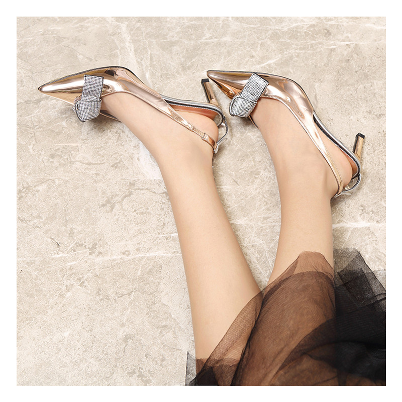2019 Brand Slingback Women Pumps Luxury Rhinestones Butterfly Party Wedding Shoes Elegant  High heels Summer Prom Shoes Sandals 4