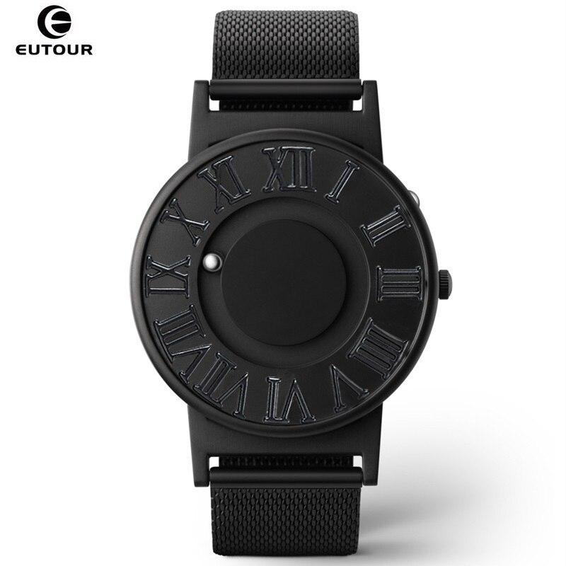 EUTOUR Hommes Montres Boule Magnétique Pointeur Échelle Romaine Quartz Montre En Acier Homme Montre-Bracelet Personnalisé Aveugle Mâle Horloge