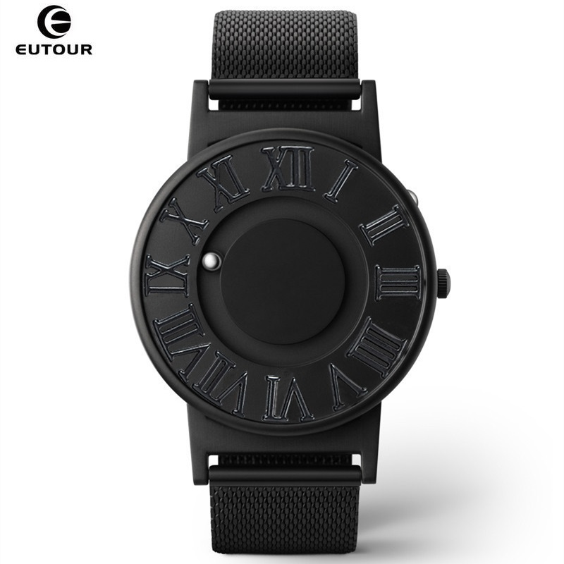 EUTOUR Mens Watches Magnetic Ball Pointer Roman Scale Quartz Watch Full Steel Man Wrist Watch Personalized Blind Male Clock