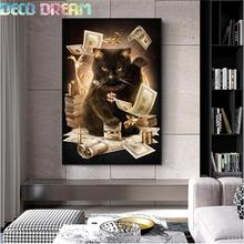 Full Diamond Painting The Lucky Black Cat Brings Wealth Diy Embroidery Good Luck Series For Living Room 3 Size